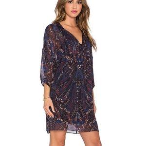 Joie Aggi Paisley Print Silk Tunic Dress XS Blue